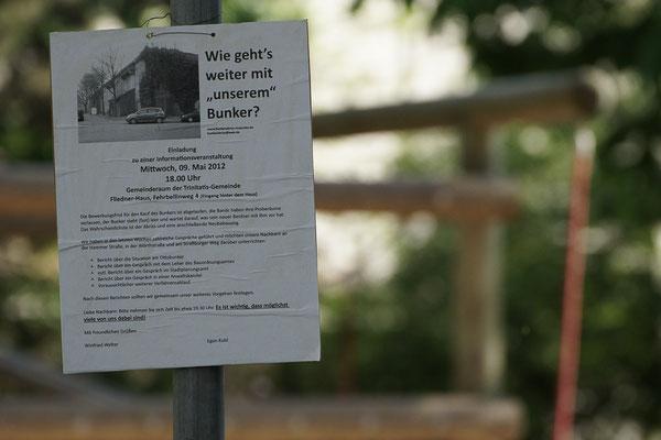 Organisation von Protesten der Anwohner gegen einen Abriss des Schützenhofbunkers. Geplant war hier Abriss des Bunkers und Neubau von Wohnungen.