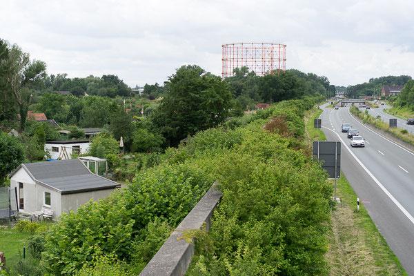 Blick über eine Kleingartenanlage auf das Gasometer