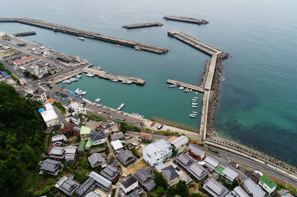 眼下に見える土生漁港