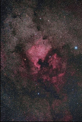 白鳥座の北アメリカ星雲とペリカン星雲