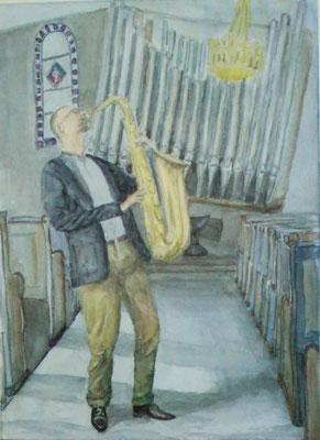 Saxophonist jazzt die Orgel,  Aquarell Mischtechnik, 30 x 40 cm, 2019, verkauft