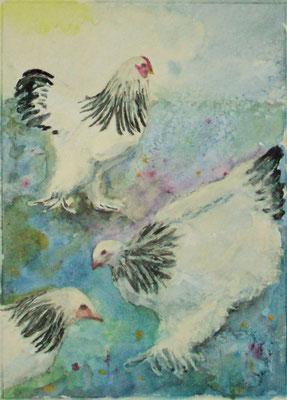 Brahma-Hühner, Aquarell/Mischtchnik, 30x40 cm, 2019, verkauft