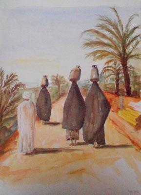 Frauen beim Wasserholen, Aegypten, Aquarell 2013