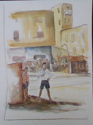 Kinder in Kairo, Aquarell 2013, verkauft