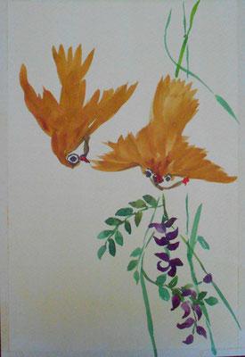Zwei Vögelchen und Glyzinie (nach Pien Cheng), Aquarell 2014
