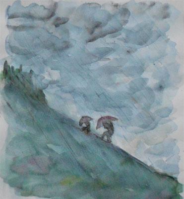 Regenschauer am Berg, Aquarell, 20 x 23 cm, 2019