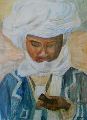Tuaregknabe, Algerien, Aquarell 2013, verkauft