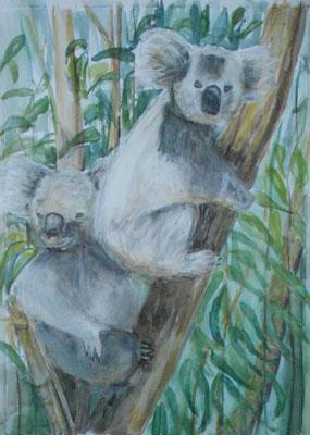 Eukalyptusbaum mit Koalas, Aquarell, 2017