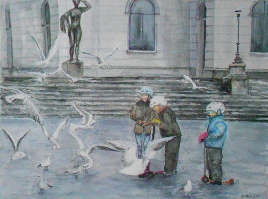 Möven und Kinder vor dem Opernhaus, Aquarell Mischtechnik, 46 x 38 cm, 2018, verkauft