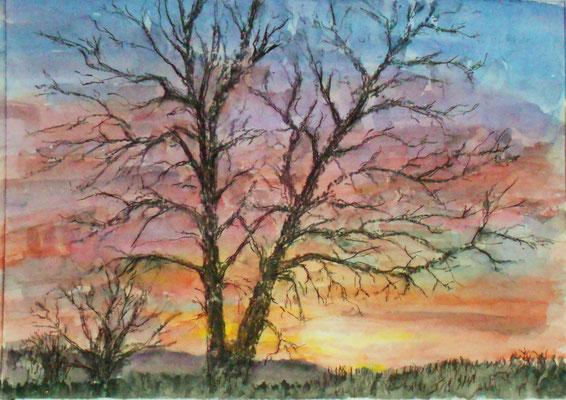 Sonnenuntergang, Aquarell Mischtechnik, 40 x 30 cm, 2019