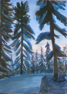 Winterabend im Bergwald, Aquarell und chin. Tusche, 2015