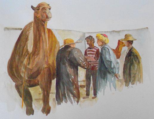 Kamelmarkt, Nordafrika, Aquarell 2013