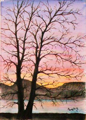 Winterabend am See mit Etzel, Aquarell Mischtechnik, 40x 30 cm, 2019, verkauft
