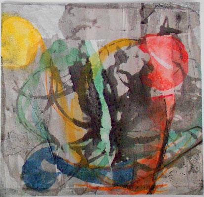 Ausbruch, Aquarell, Collage, chin. Tusche 2015