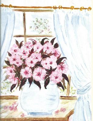 6 - rosa Blumen im Fenster