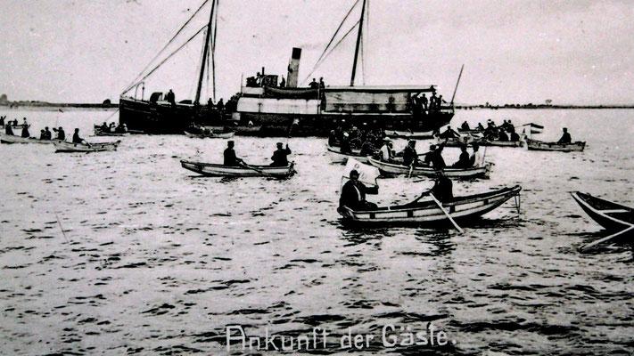 Ankunft der Gäste (Ausbooten) 1906