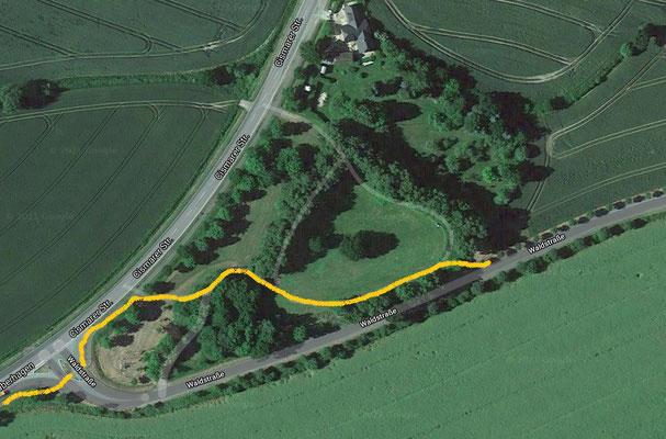 Vorgeschlagener Weg durch den Hirschpark (gelb)