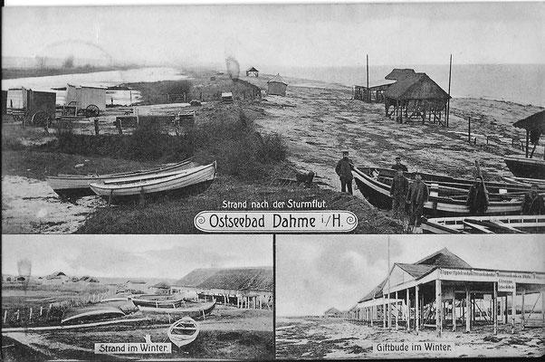 Nach der Sturmflut 1896 sind die Strandwiesen überschwemmt. Der alte Sanddeich von 1865 hat nicht gehalten, wohl aber der neues Deich von 1874.
