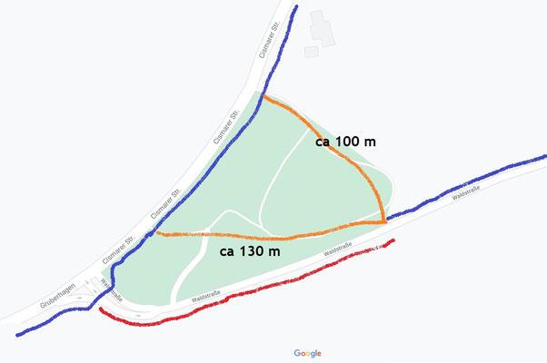 Gefährliche Wegstrecke (rot), befindliche Fahrradwege/ Bürgersteige, vorgeschlagener Weg (gelb)
