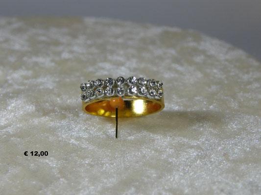 fascia semplice in tono oro con strass bianchi  a due giri