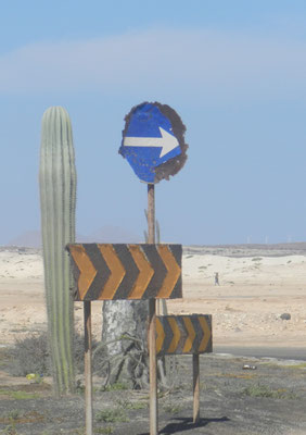 Road signs corrosed by salty wind