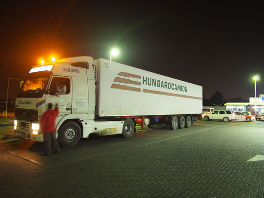 Hungarocamion trailer on a petrol station in Oman