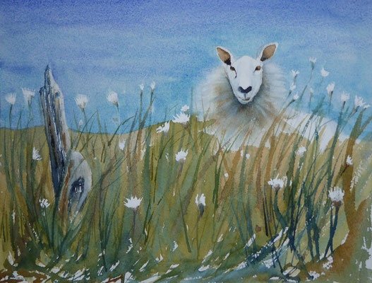 People making way for sheep, Watercolour limed wood frame