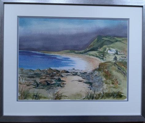 Balintore Beach, Watercolour 54 x 44 cms Silver metallic look frame
