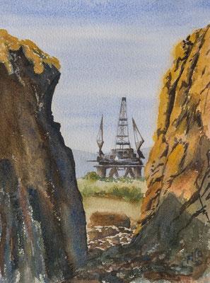 Oil rig at Nigg Bay, Watercolour unframed
