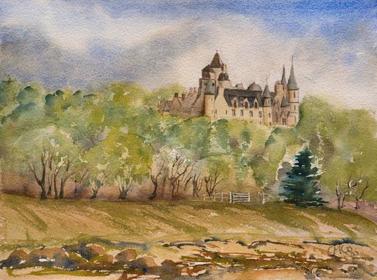 Dunrobin Castle from Golspie, Watercolour unframed