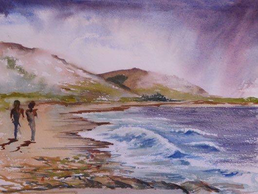 Walking together on Brora Beach Watercolor 30x23 cms Unframed