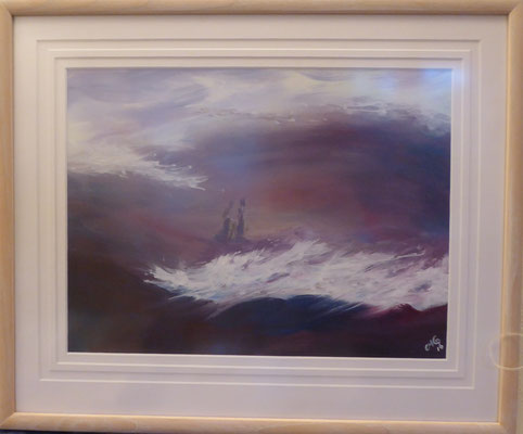 Purple Mist , Oil painting 54x 45 cms Limed Wood frame