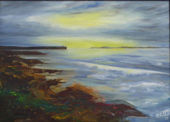Embo Beach at Sunrise, Oil painting on board