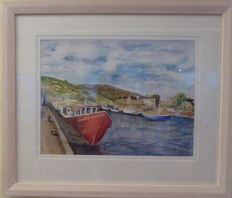 Helmsdale Harbour, Watercolour 60x 50 cms Limed wood frame