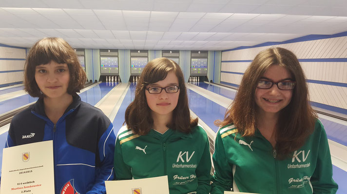 die 3 Besten bei der U14 w von links Martina Armbruster Offenburg, Luisa Fehrenbach Unterharmersbach, Christina Brandenbusch Unterharmersbach.