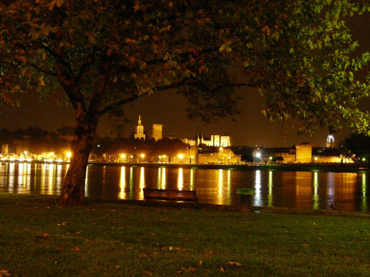 Avignon vom Ufer der Rhone