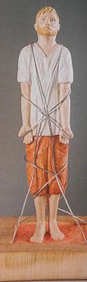 Der Gefesselte, 50x30 cm, Linde, Draht
