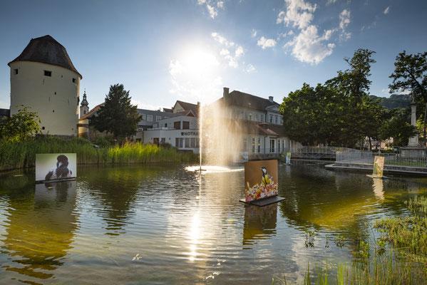 Schwimmende Bilder im Hartberger Stadtteich | Foto: Bernhard Bergmann