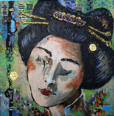 GEISHA, Acryl, Mixed Media, 35 x 35 cm, 68 Euro