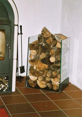 Holzlager Glas-Stahl