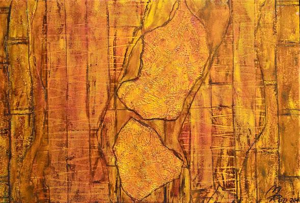 SOUL SEGMENTS; 50x70 cm; Acryl auf Tapete; Preis € 300,-