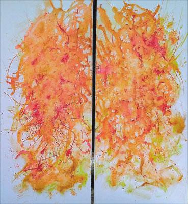 HUMANIMAL; Double image (jedes Bild 58x25 cm); Acryl auf Leinen; Preis € 200,-