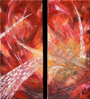 SHRIMPHONIA; Double image each 55x25 cm (beide 55x50 cm); Öl (Original nicht mehr erhältlich)
