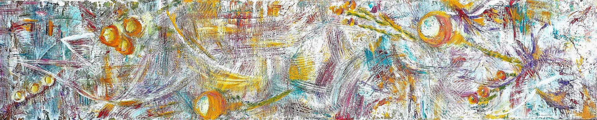 SCALLOPS; 30x150 cm; Acryl auf Leinen; Preis € 250,-