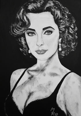 ELIZABETH TAYLOR; 70x50 cm; Ghesso auf Leinen; Preis € 360,-