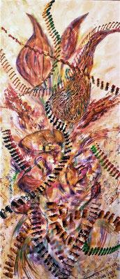 SPRING TRACKS; 58x25 cm; Acryl auf Leinen; Preis € 150,-