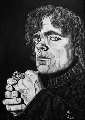 """PETER DINKLAGE (""""Game of Thrones""""); 70x50 cm; Ghesso auf Leinen; Preis € 360,-"""