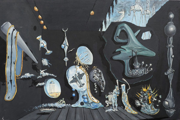 MELANCHOLISCHE ATOM- UND URANIDYLLE (nach Salvador Dali); 50x70 cm; Öl auf Leinen (Original nicht mehr erhältlich)