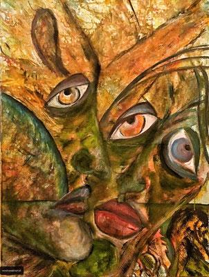 FACES Nr.2; 70x50 cm; Acryl auf Leinen; Preis € 300,-