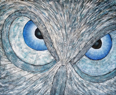 BLUE UHU; 100x120 cm; Mixed Media auf Leinen; Preis € 500,-